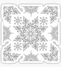 Holiday Snowflake Pattern #1 on Red Background Sticker