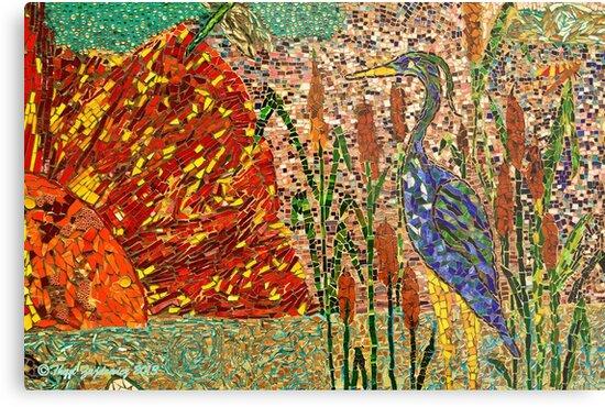 Heron and sun mosaic by Thaddeus Zajdowicz
