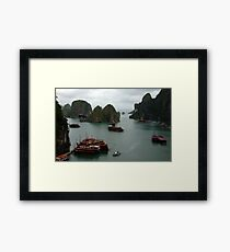 Halong Bay Junks Framed Print
