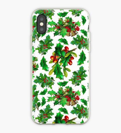 Christmas Holly Pattern on White Background iPhone Case