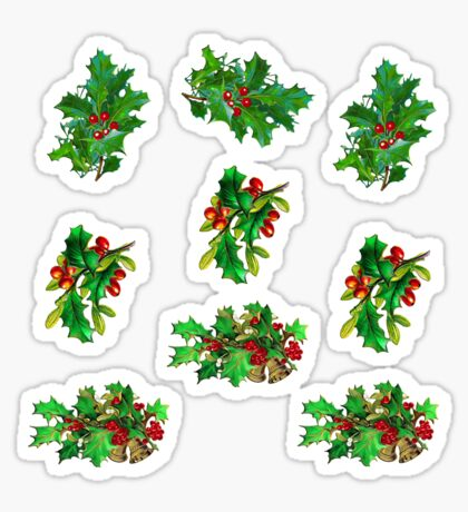 Christmas Holly Pattern on White Background Sticker