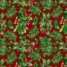 Vintage Christmas Holly Pattern on Dark Red Background by LaRoach