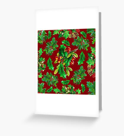 Vintage Christmas Holly Pattern on Dark Red Background Greeting Card