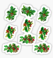 Vintage Christmas Holly Pattern on Dark Red Background Sticker