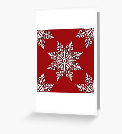 Holiday Snowflake Pattern #3 on Red Background Greeting Card
