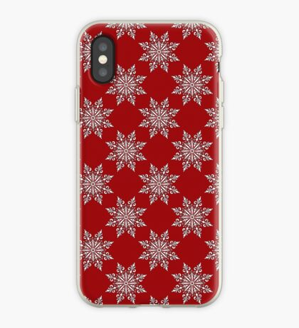 Holiday Snowflake Pattern #3 on Red Background iPhone Case