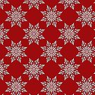 Holiday Snowflake Pattern #3 on Red Background by LaRoach