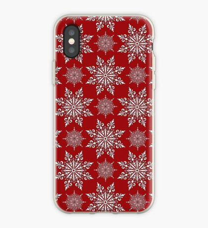 Holiday Snowflake Pattern #2 on Red Background iPhone Case