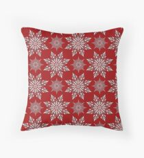 Holiday Snowflake Pattern #2 on Red Background Throw Pillow