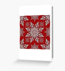 Holiday Snowflake Pattern #1 on Red Background Greeting Card