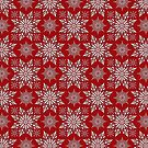 Holiday Snowflake Pattern #1 on Red Background by LaRoach
