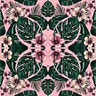 symmetrical tropical floral pink by Lara Wolf