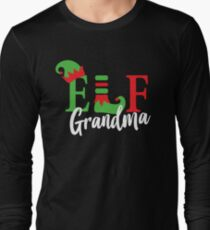Grandma Elf Matching Family Christmas Pajama Long Sleeve T-Shirt