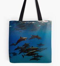 A school of bottlenose dolphins in Sataya Reef Tote Bag