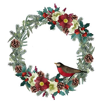Christmas wreath with red bullfinch by artonwear