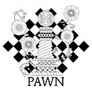 Black and White Pawn Chess Piece with Twisted Vines and Flowers by LeeTowleArt