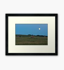 Moon above the prairies Framed Print