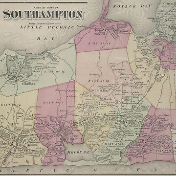 Mapa Vintage de Southampton NY (1873) de BravuraMedia