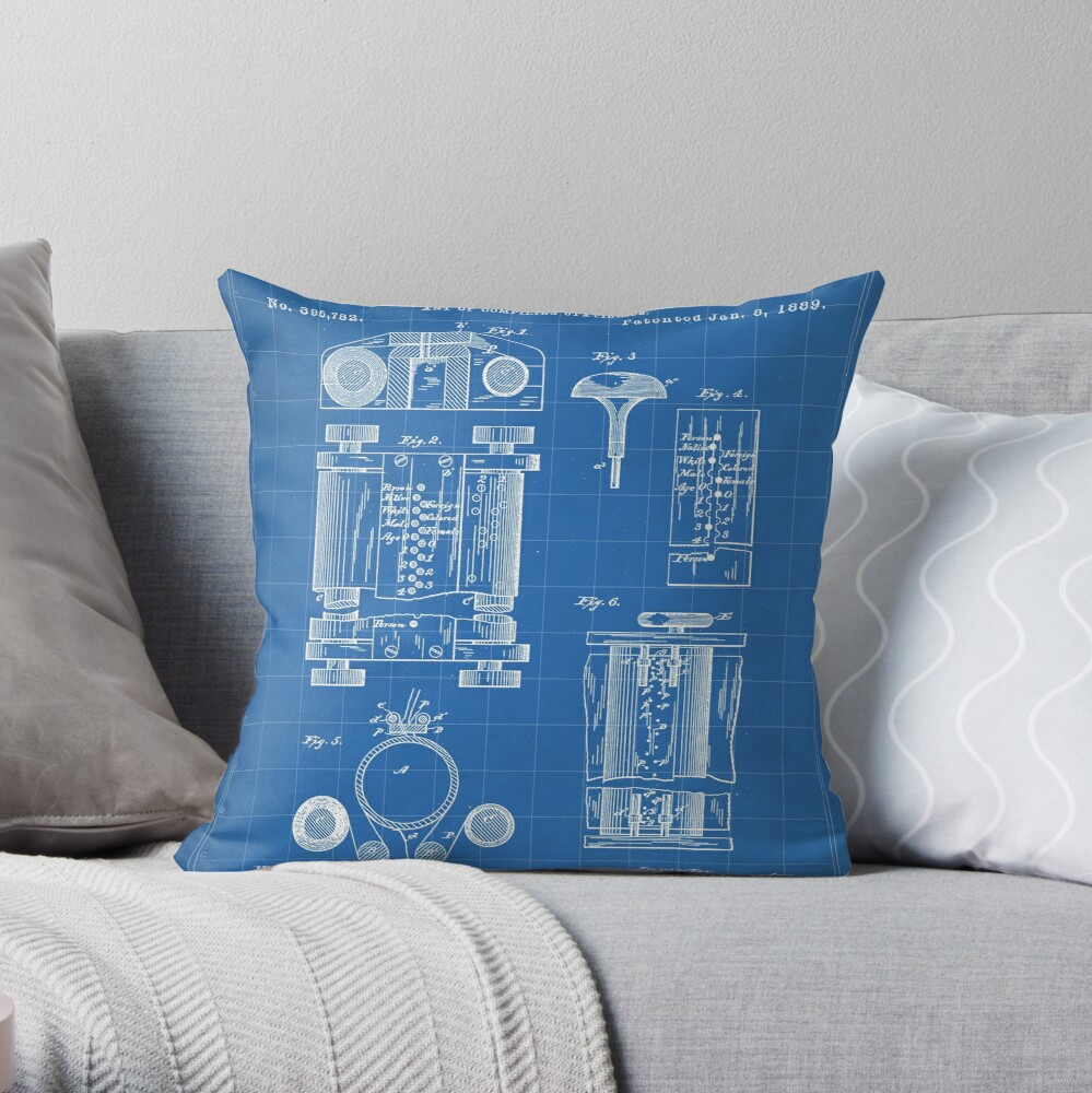 First Computer Patent - Technology Art - Blueprint Throw Pillow