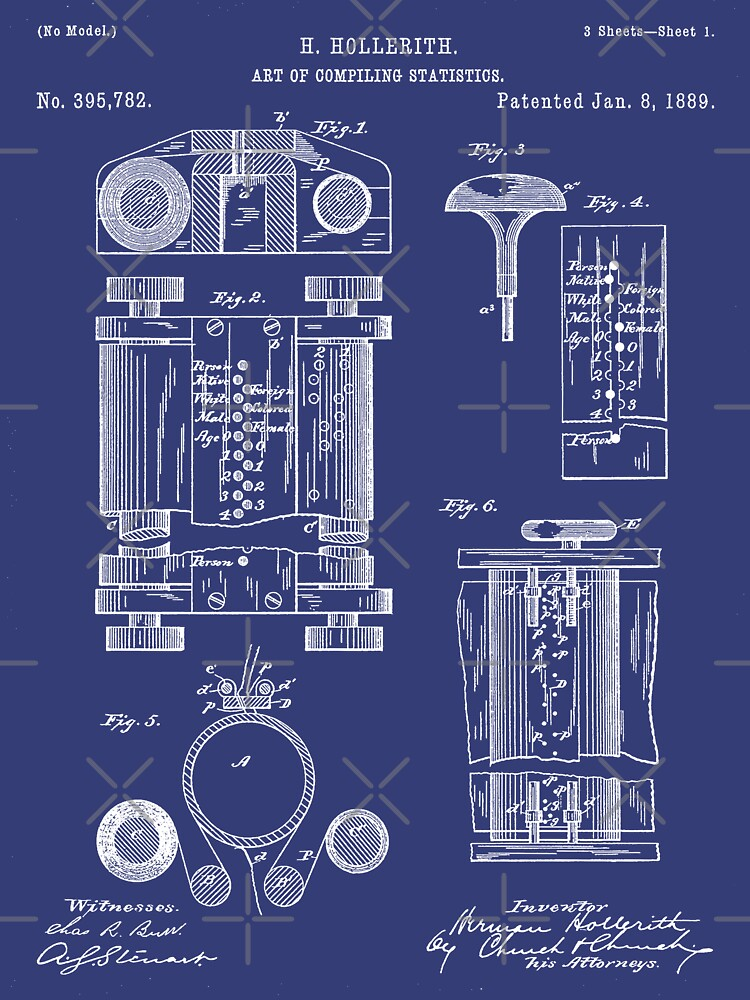 First Computer Patent - Technology Art - Blueprint by patentpress