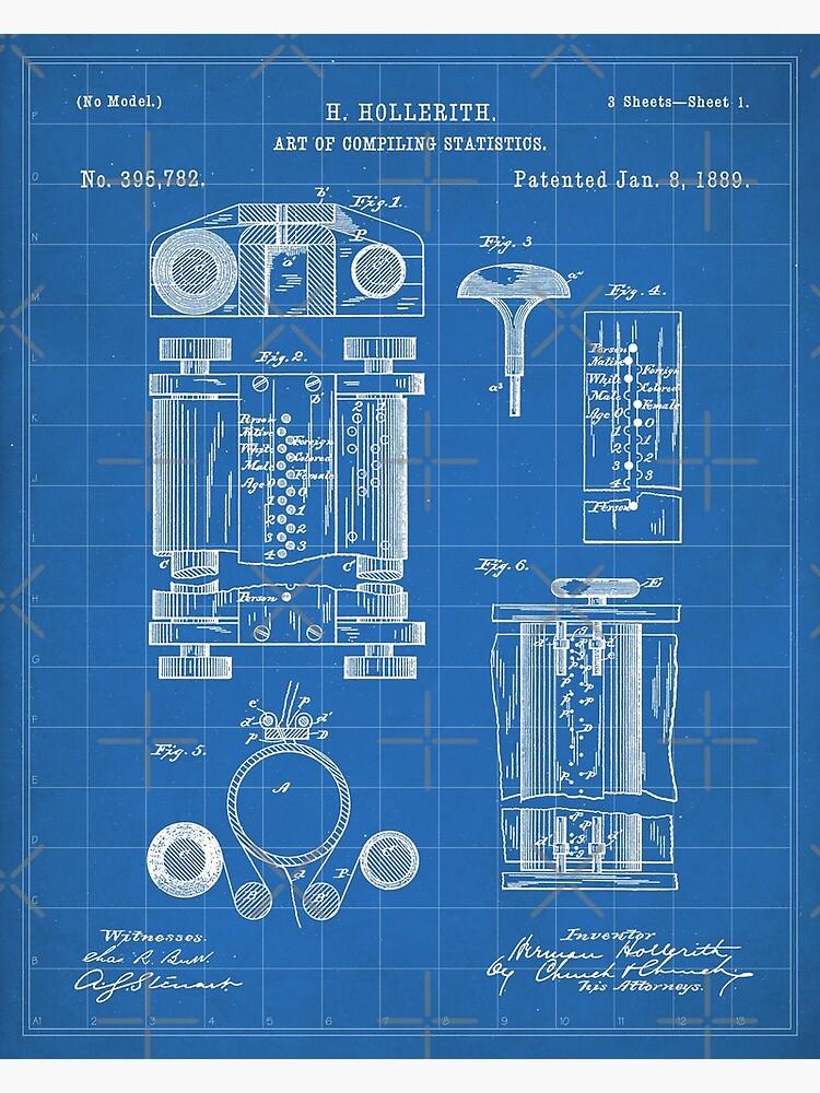 First Computer Patent - Technology Art - Blueprint by patentpress