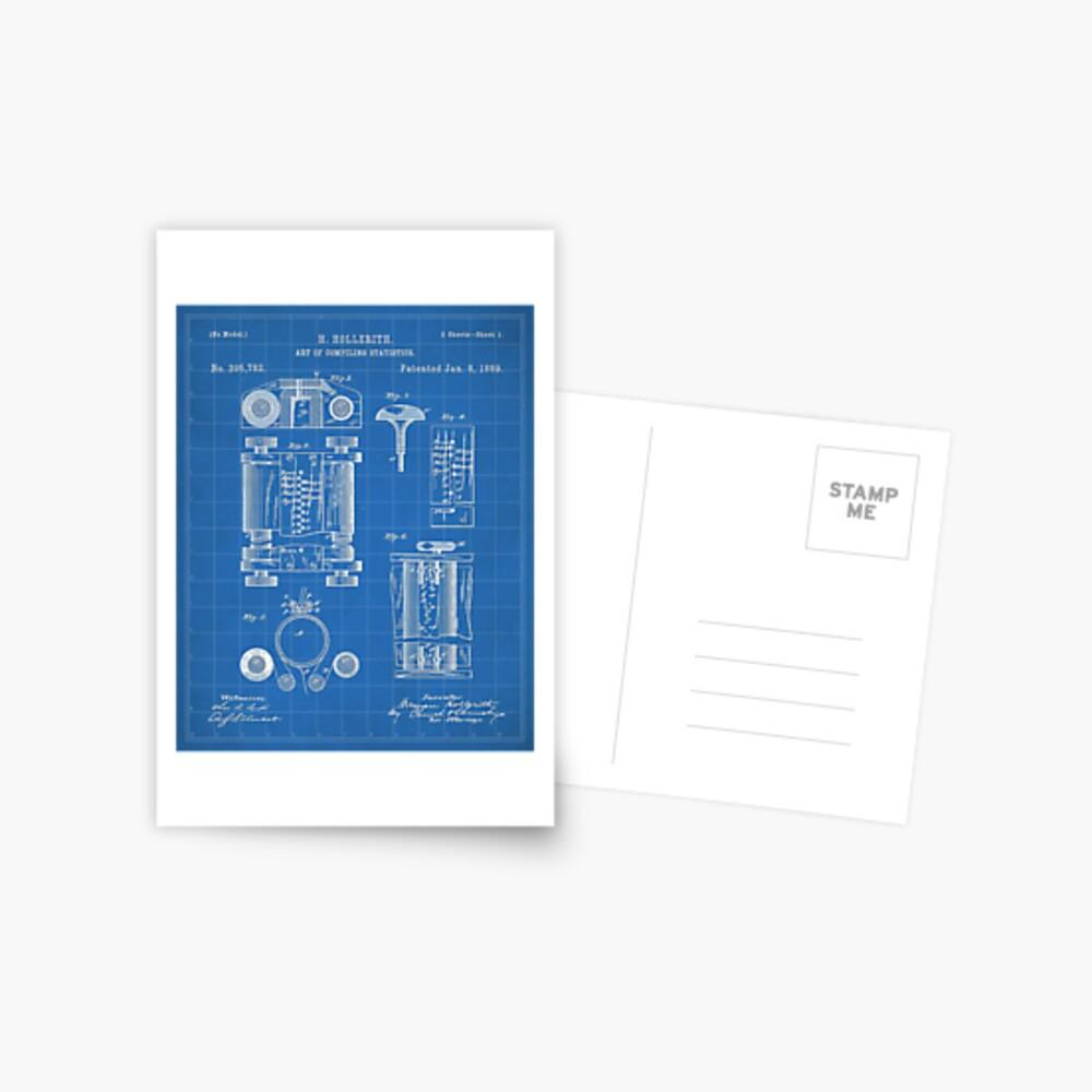 First Computer Patent - Technology Art - Blueprint Postcard