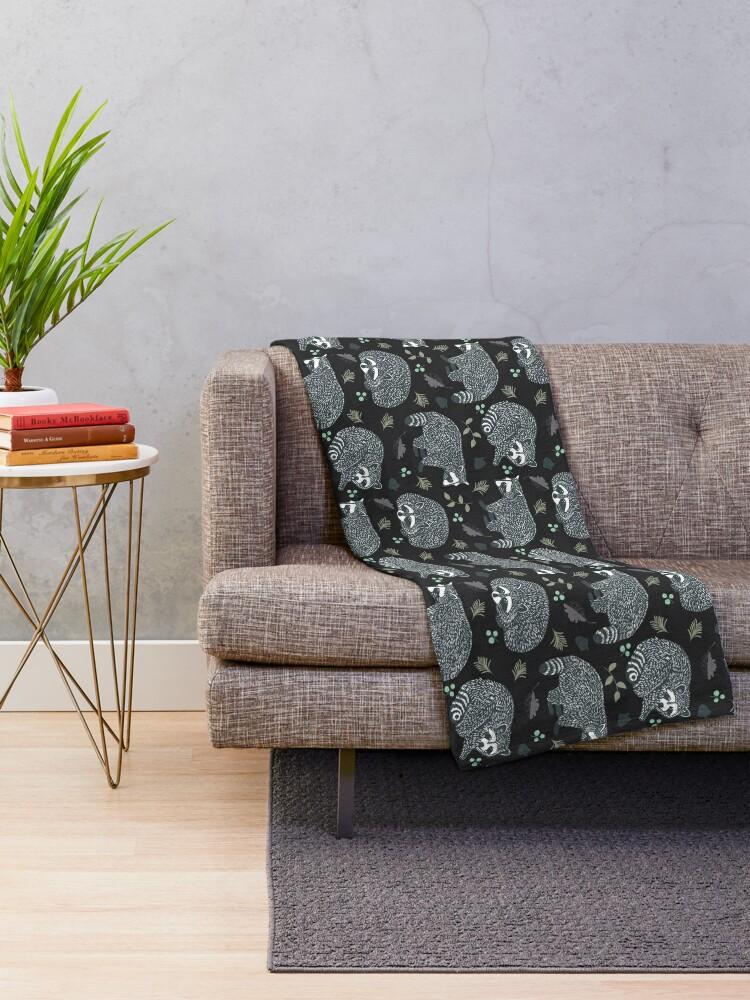 Alternate view of Raccoons! Design 42 / 365 Days of Design Throw Blanket