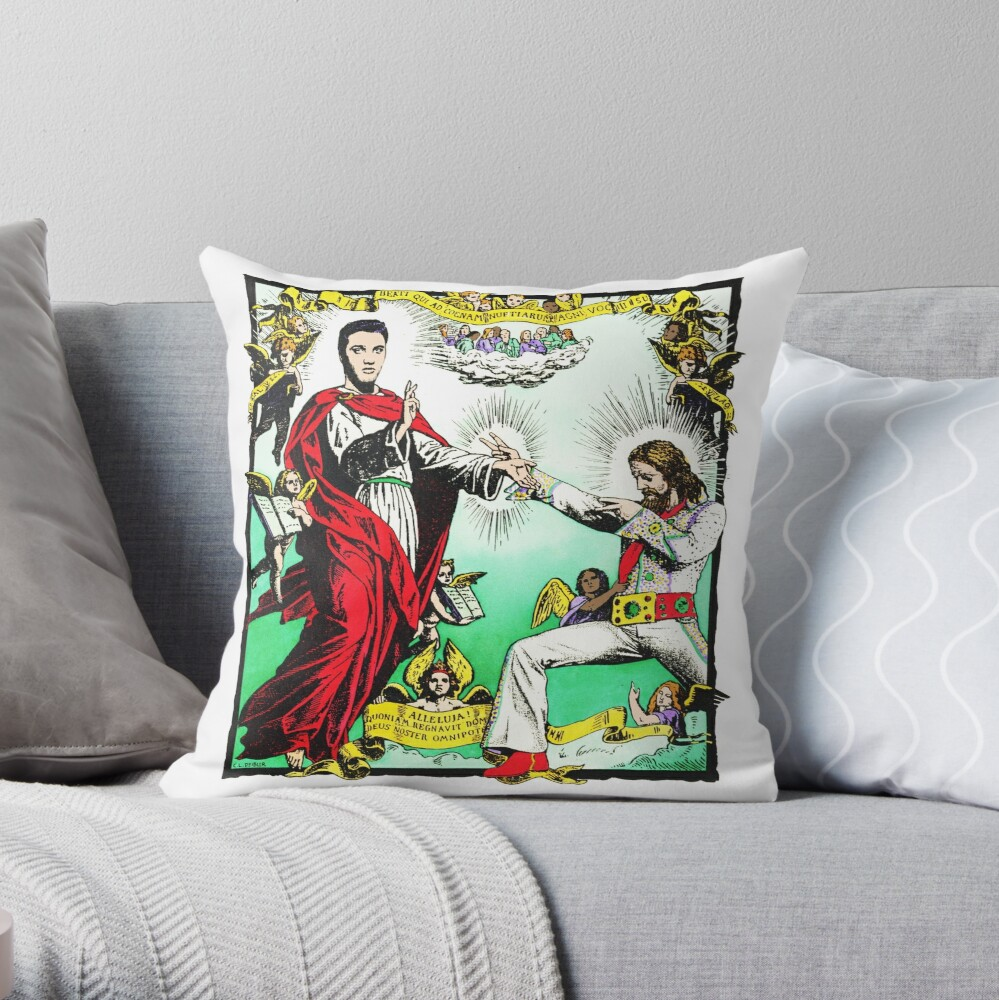 Jesus and Elvis Throw Pillow