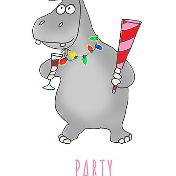 "Funny ""Hippopartymus"" Hippopotamus Pun Christmas Holiday Shirt by techman516"