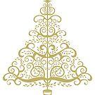 Gold Swirly Christmas Tree by SherDigiScraps