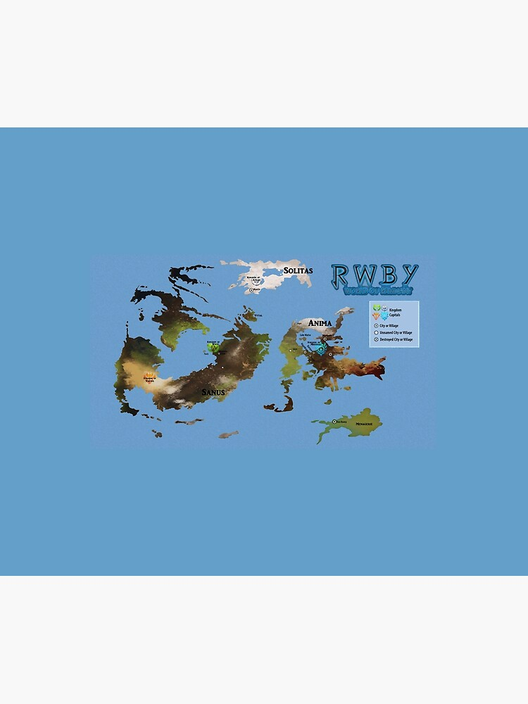 Remnant Map as of Vol 6 Ch 2 (RWBY) | Wall Tapestry