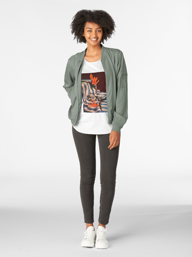 Alternate view of Orange Flowers and Blue Cloth Premium Scoop T-Shirt