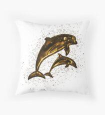 Cojín de suelo Dolphins sea life golden Gold