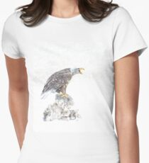 Bald eagle in snowstorm Women's Fitted T-Shirt
