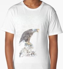 Bald eagle in snowstorm Long T-Shirt