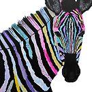 Zebra Colourful Mixed Media Art by MandalaArts