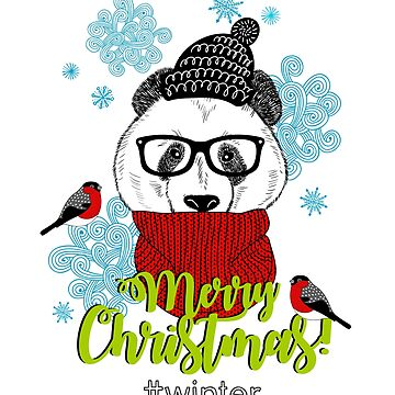 Merry Christmas! from mr. Panda and birds by panova
