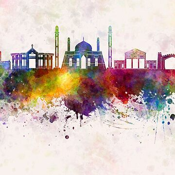 Quetta  skyline in watercolor background by paulrommer