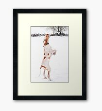 Snow Catching Spinone Framed Print