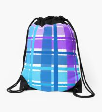 Checkered in blue and pink Drawstring Bag