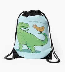 T Rex and Chicken - We are Family! Drawstring Bag