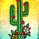 Cactus with Flowers Old School Tattoo Style by Anne Mathiasz