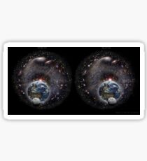 Stereoscopic view of the Milky Way Galaxy, Earth and Moon for cross-eyed viewing. Sticker