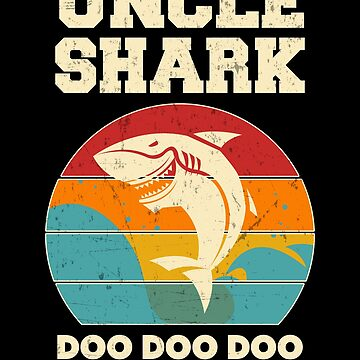 Uncle Shark Retro Vintage Fathers Day Dad by JapaneseInkArt