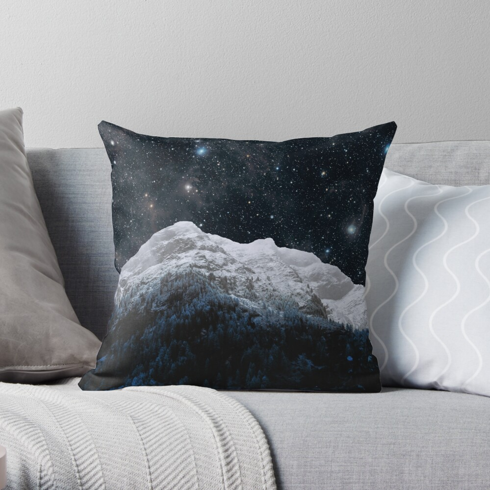 Mountains Attracts Galaxy Throw Pillow