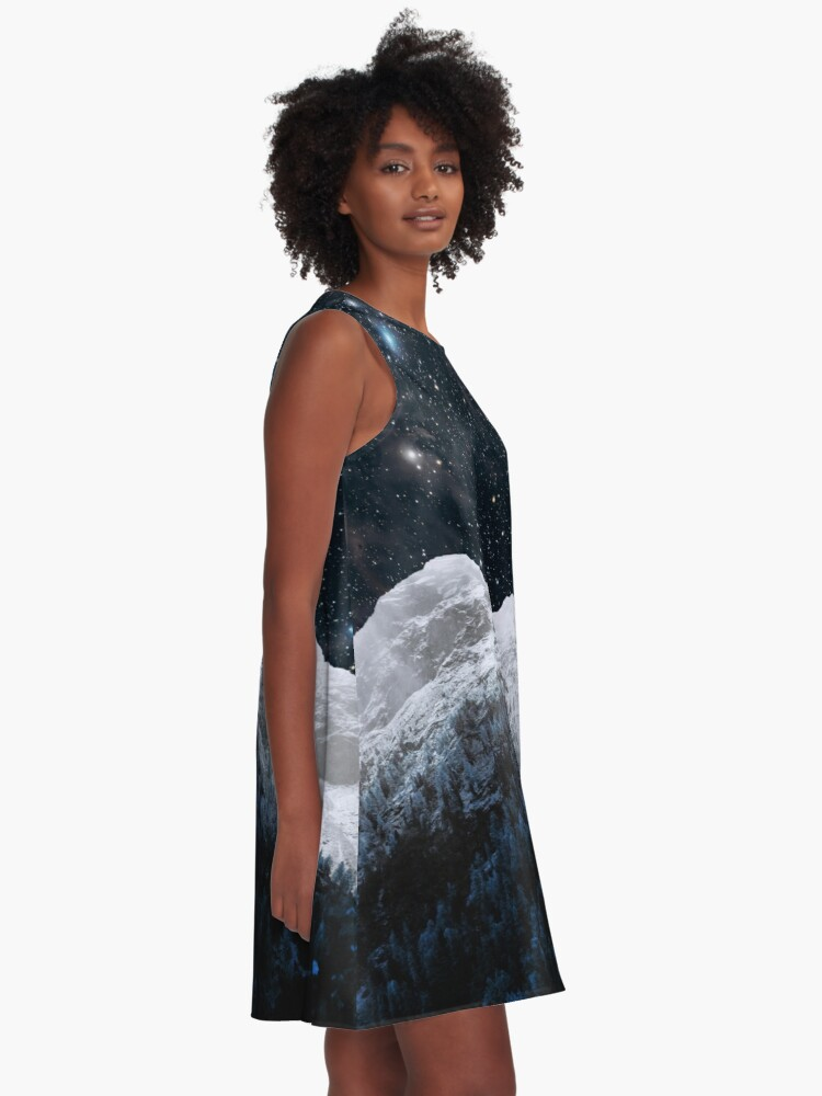 Alternate view of Mountains Attracts Galaxy A-Line Dress