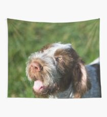 Spinone Puppy Smile - Brown Roan Italian Spinone Puppy Dog Head Shot Wall Tapestry