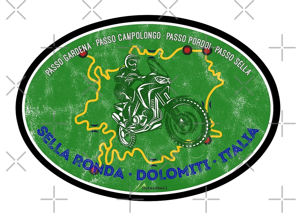 Sella Ronda Dolomites Italy Sticker T-Shirt by OuterShellUK