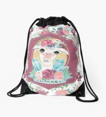 Flora the Alpaca Maker for Knitters, Crocheters, Cross Stitch, Sewists, All Craft Makers, Llama Drawstring Bag