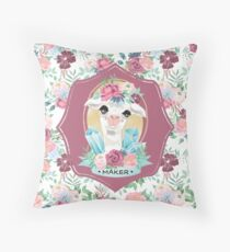 Flora the Alpaca Maker for Knitters, Crocheters, Cross Stitch, Sewists, All Craft Makers, Llama Throw Pillow
